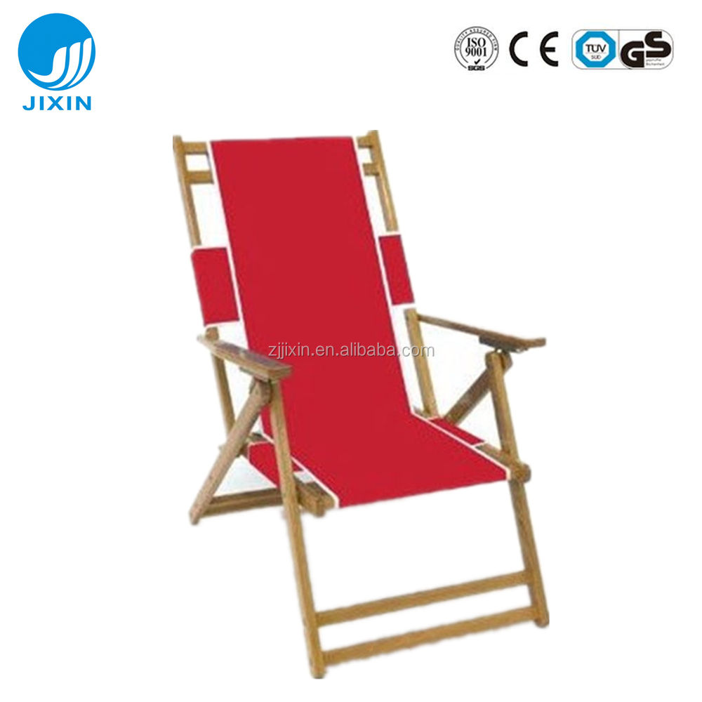 High Quality Beach Folding Deck Chair / Adjustable Wooden Reclining Foldable Chair / Reclining Beach Wooden