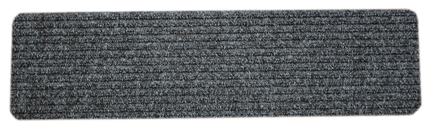 Dean Carpet Stair Treads/Runners/Mats/Step Covers   Dark Gray Ribbed 30