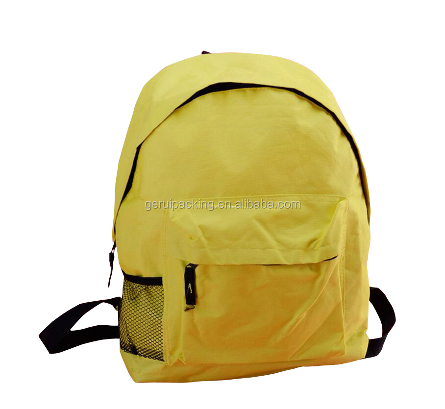 factory customized yellow zipper student 600D oxford school bag printed logo