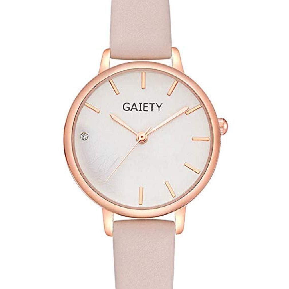 Women Quartz Watches, Windoson Analog Clearance Ladies Wrist Watches Girl Watches Leather Female Watches New (Pink)