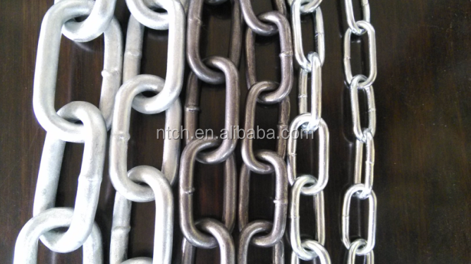 Zinc plated long link chain DIN763