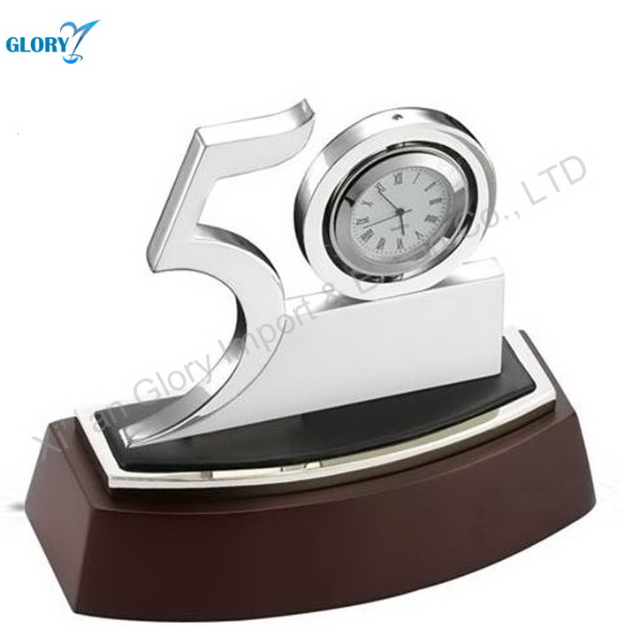 Wood Carving Table Clock 50th Anniversary Souvenir