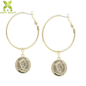 Vintage jewelry Elizabeth Queen coin drop hoop earrings