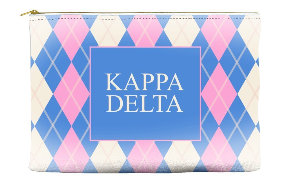 Kappa Delta Argyle Pattern Pink Blue Cosmetic Accessory Pouch Bag for Makeup Jewelry & other Essentials