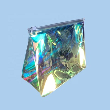PVC Vinyl Hologram Laser Holographic Waterproof cosmetic Ziplock Zipper Bag