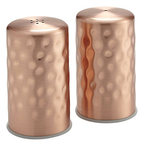 "American Metalcraft CHSP2 Salt and Pepper Shaker Set, Hammered, Copper, 2oz. Capacity, 1-1/4"" Height, 6"" Width, 9-3/4"" Length"