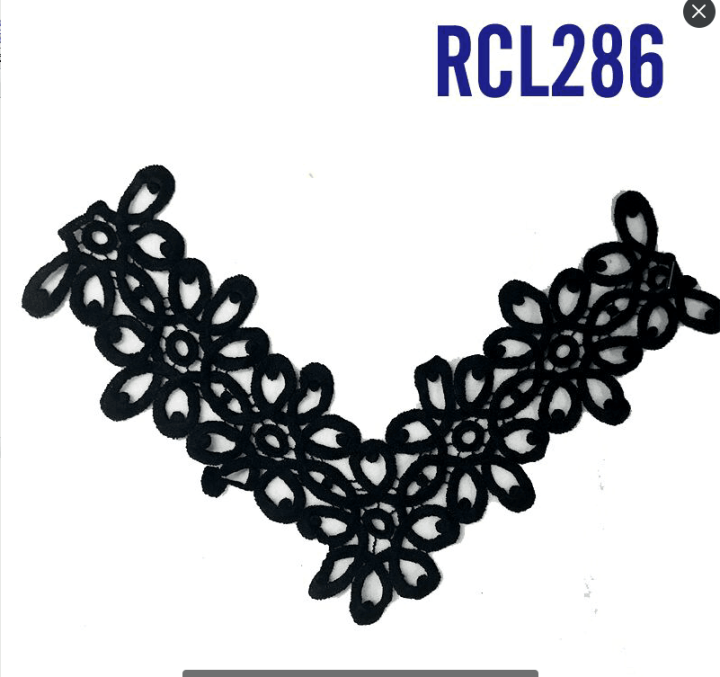 neck design lace for churidar embroidery black chemical collar lace