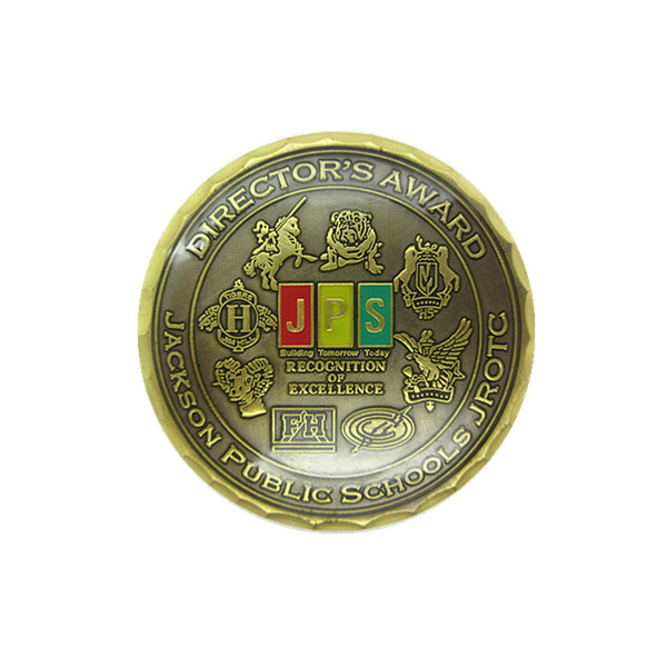 custom school adwards diamond edge coin with epoxy coat