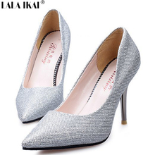 XWC0008-5 New Arrival Women Pointed Toe High Heels Wedding Party Dress Shoes Sequined Sexy Ladies Thin Heel Pumps Single Shoes