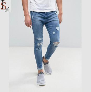 1900ab4001c 2019 Blue ripped distressed biker mens jeans 4% spandex 96% cotton hip hop  boys