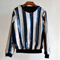 B12541A european style women sequins beaded striped hoody