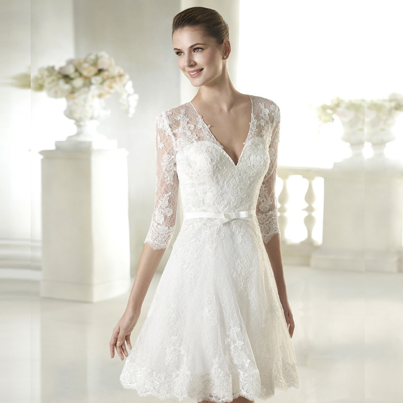 lace new simple white ivory lace short wedding dresses 2015 v neck tulle long sleeve with sashes. Black Bedroom Furniture Sets. Home Design Ideas