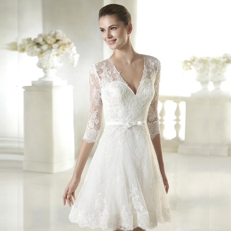 Short Sleeve Simple Wedding Dress: Lace New Simple White Ivory Lace Short Wedding Dresses