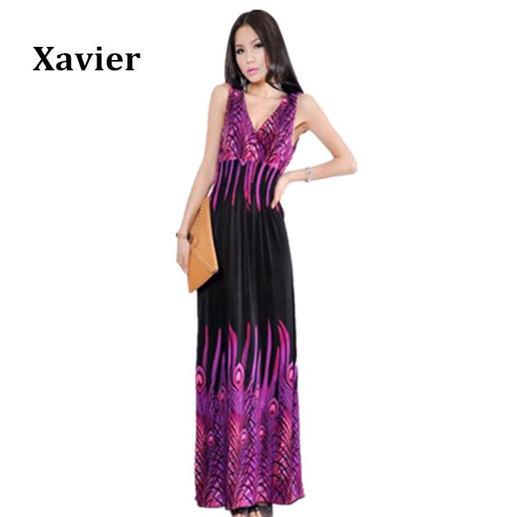 2015 Hot sale V Neck Peacock printed Summer Casual Dress ...