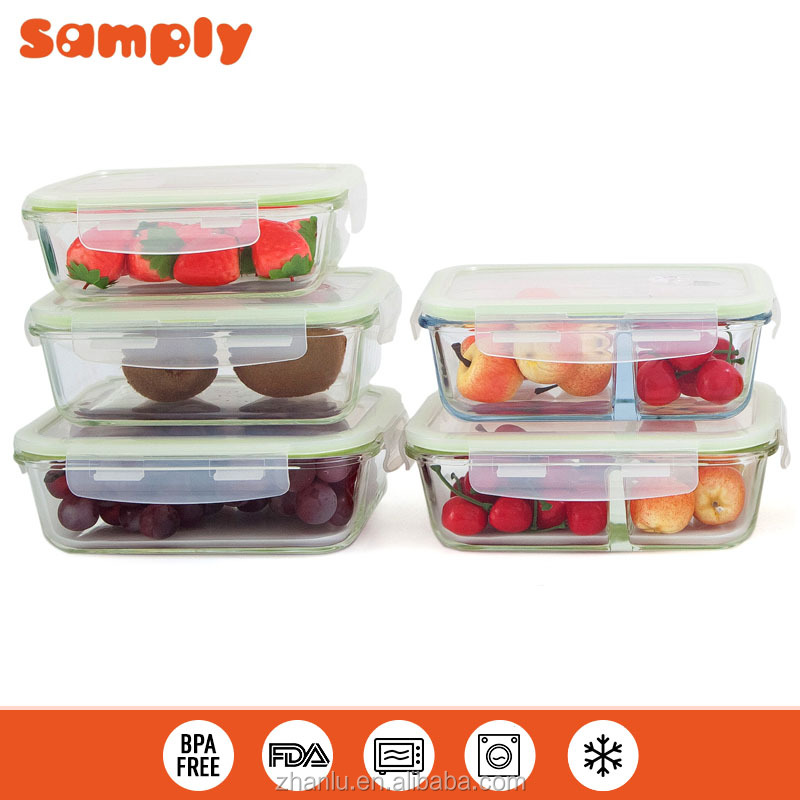 Leak-proof Microwave Oven and freezer Safe food Glass containers wholesale