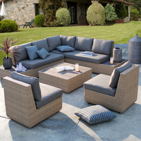 Large set wicker soft outdoor furniture rattan cushion lounge sofa set