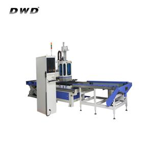 China wood cnc machine!! Automatic up-down material device and high precision cnc carving machine with nesting function