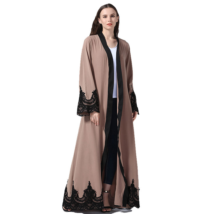 2020 front open islamic clothing lace dubai kimono abaya for women muslim wholesale