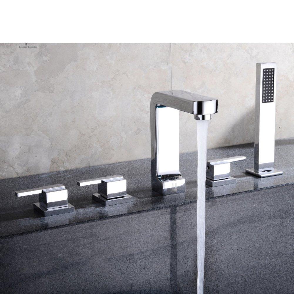All copper hot and cold split/Sit Down/Cylinder edge formula/Five-piece bathtub faucet/Bathtub faucet floor edge-D