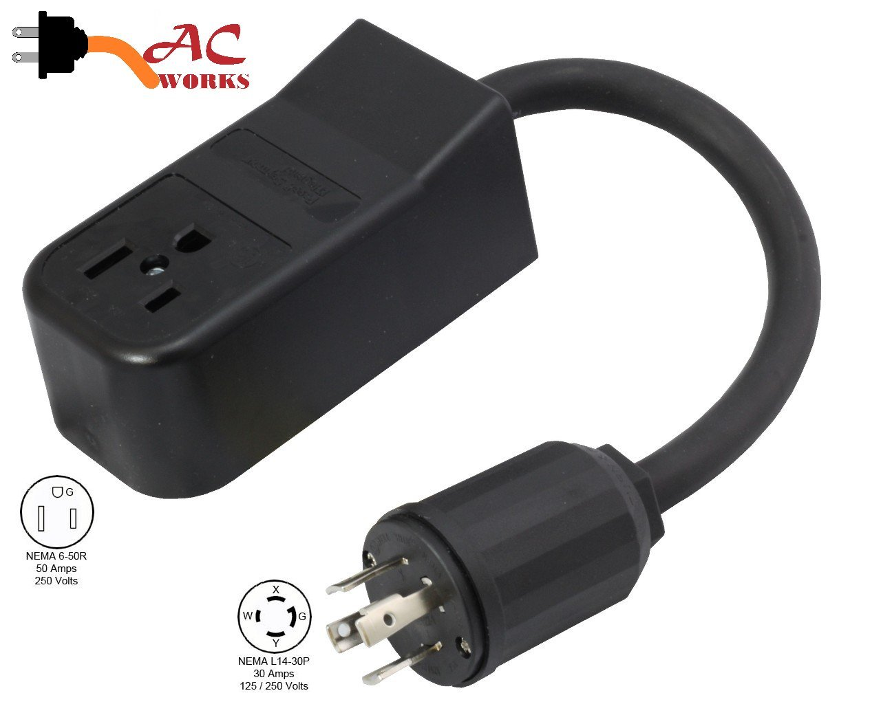 Generator Welder Adapter Cord Outlet Plug L14-30 4-Prong NEMA 6-50R L1430650-018