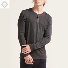 Custom Mens Long Sleeve Buttons Henley Neck T Shirts