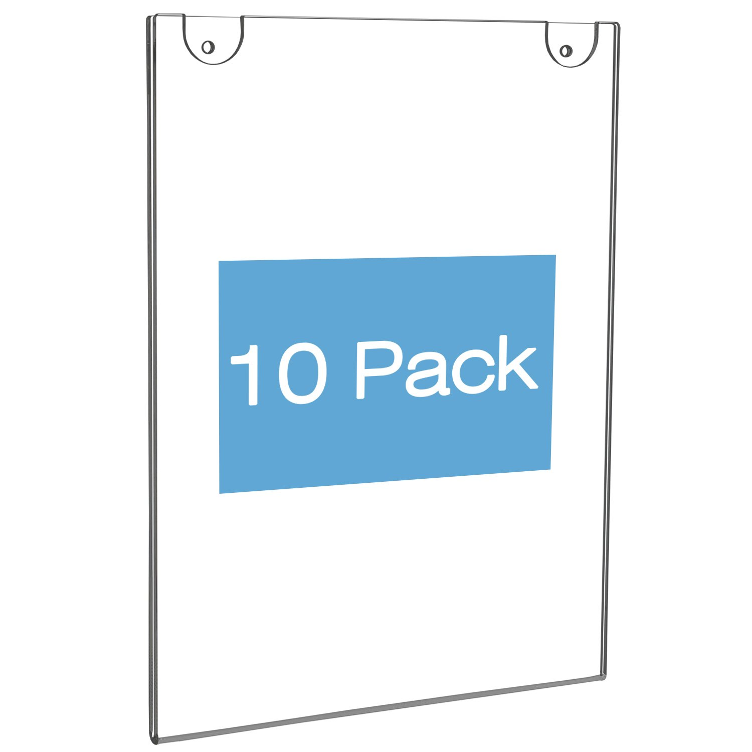 NIUBEE Acrylic Wall Mount Sign Holder 8.5 x 11 Inch- Clear Ad Frames for Papers- Vertical (10 Pack)