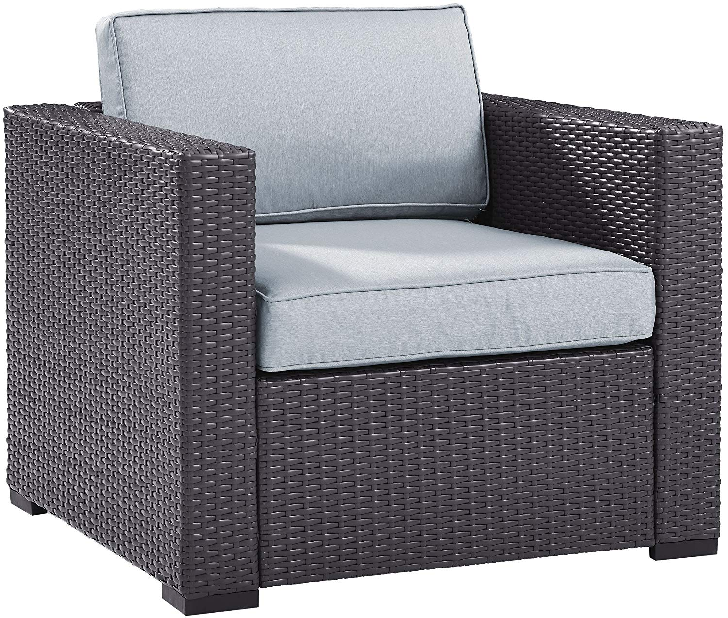 Crosley Furniture KO70130BR-MI Biscayne Outdoor Wicker Arm Chair, Brown with Mist Cushions