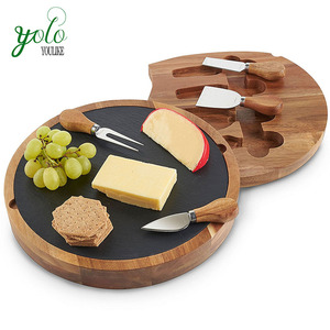 Acacia Wooden Mini Black Slate Round Custom Cheese Cutting Board and Knife Set Wholesale
