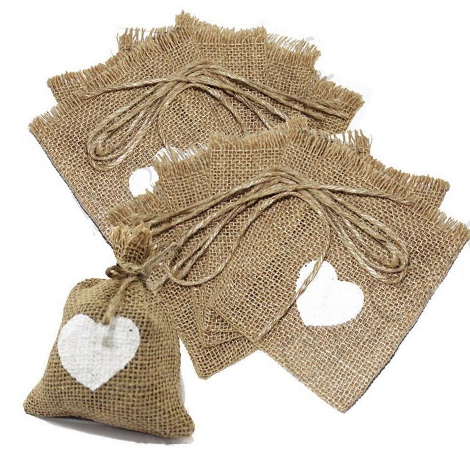 Buy 4x6 Inch Hessian Love Heart Burlap Favor Gift Bag Pouch Rustic ...