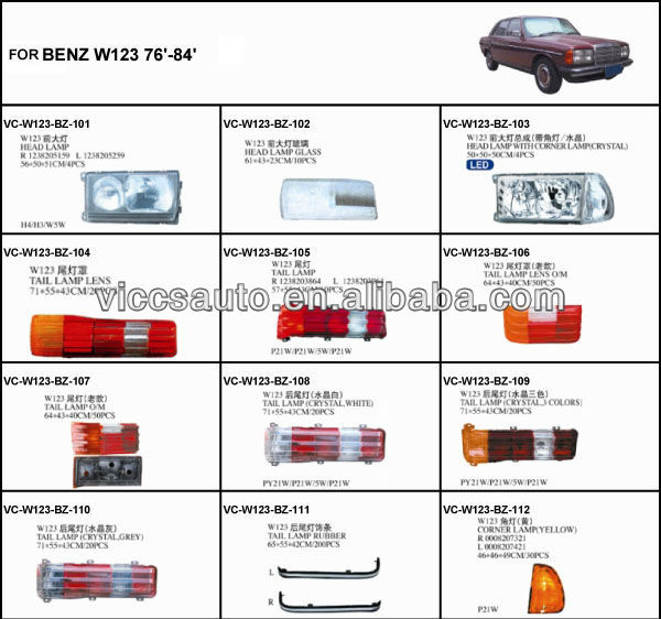 Tail Lamp (crystal/white) For Benz W123 76-84