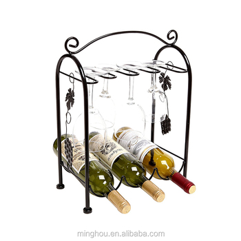 Floor Standing Wire Wine Rack With Wine Glass Holder For Home