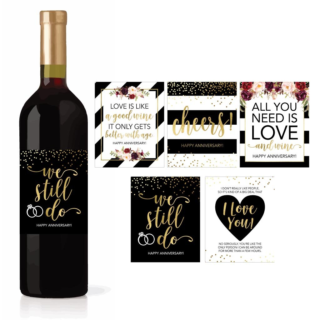 5 Wedding Anniversary Wine Label Stickers For 20th 25th 30th 40th 50th Gift Ideas, Best Funny Cute Romantic Marriage Couple Presents For Him or Her, Men or Women Accessories Supplies and Decorations