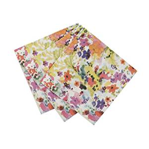 Talking Tables Floral Fiesta Amuse Bouche Floral Canape Napkins for a Tea Party, Birthday or Luau Party, Multicolor (40 Pack)