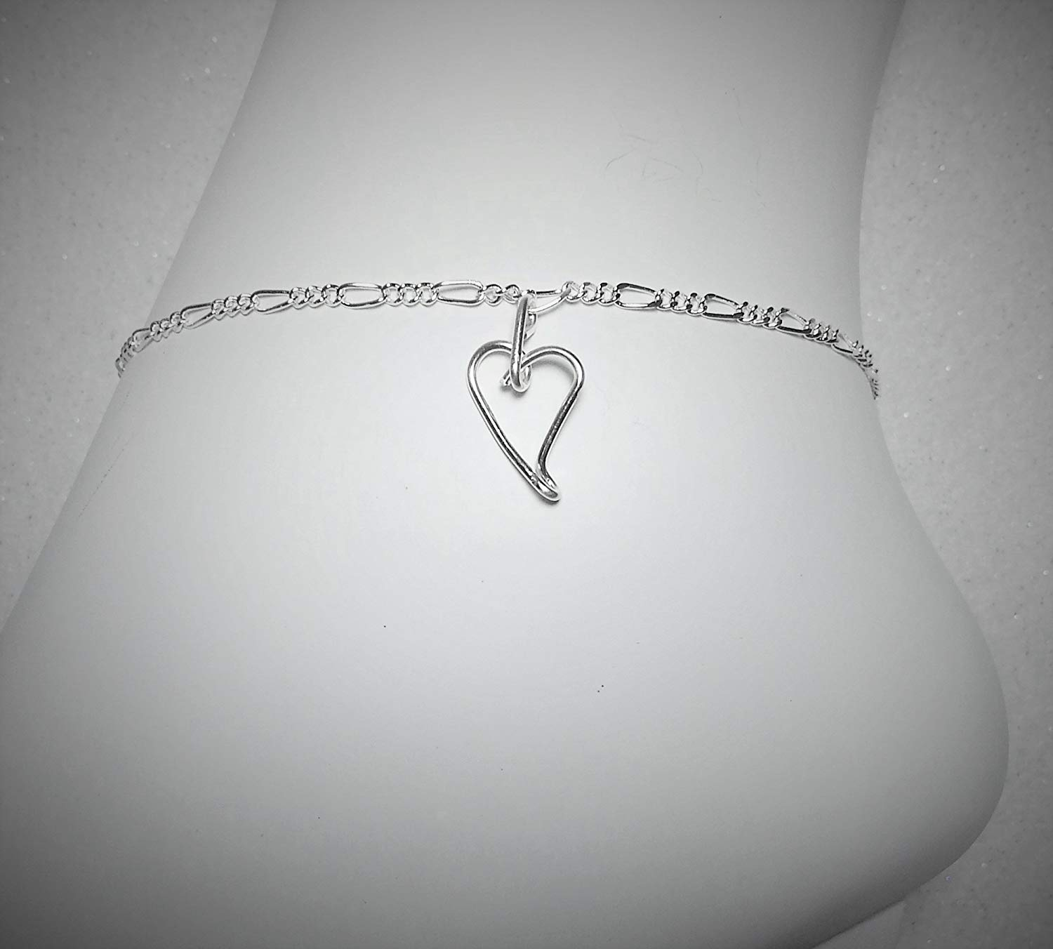 Get Quotations Sterling Silver Plated Anklet Ankle Bracelet Heart Charm 8 Inch 9 10