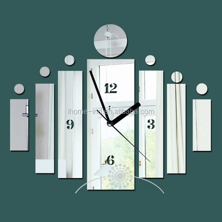high quality diy acrylic mirror wall clock sticker modern luxury