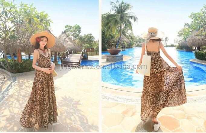 ed6683c380 Sexy estampado de leopardo Vacaciones de playa elegante maxi vestidos   OB27