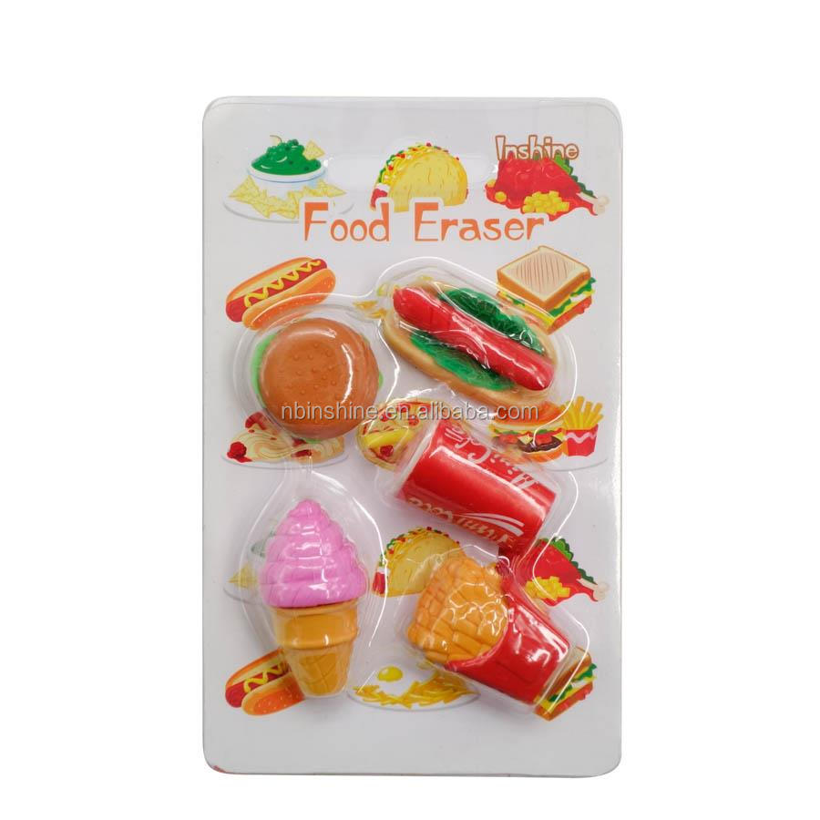 TPR Ice Cream & Cake Shape 3D Puzzle Eraser in Blister Card