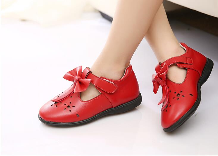 High quality 2015 kids shoes for girl fashion leather single sneaker bowtie princess girls sandals dress girls party shoes