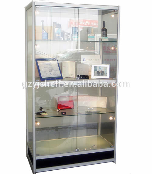 Modern Glass Display Cabinet, Metal Toy Display Cabinet With Glass Sliding  Door