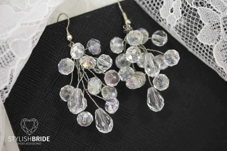 Wedding Crystal Earrings, Bridal Crystal handmade Earrings, wedding handmade earrings, Handmade earrings, Handmade jewelry, Wire earrings