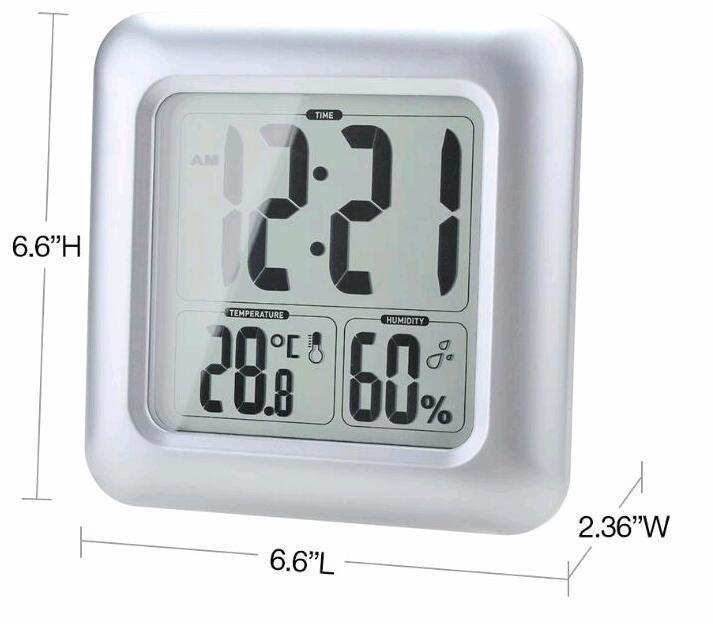 Grande Horloge Murale Numérique Étanche Thermomètre Hygromètre Horloge Pour  Salle De Bain