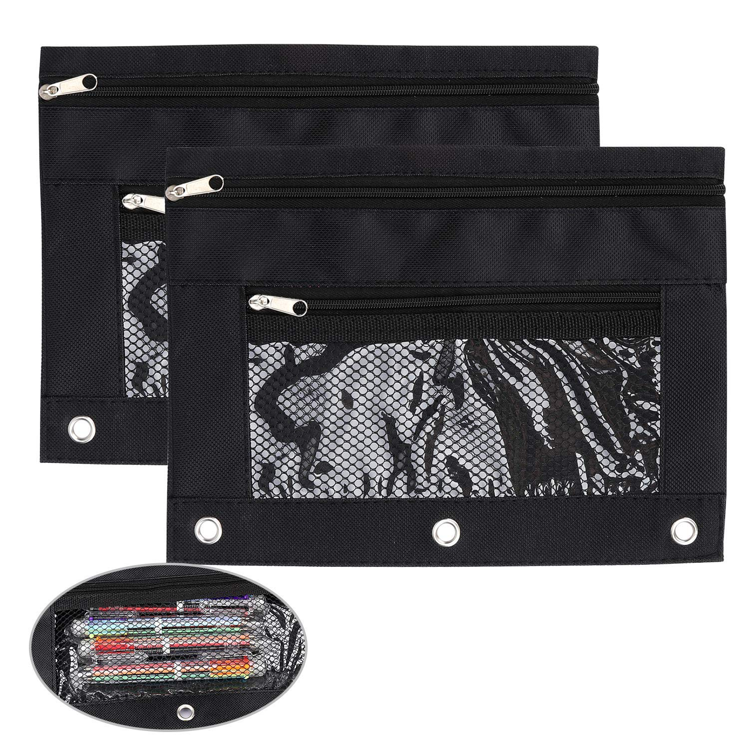CIEHER 3-Ring Pencil Pouch with a Mesh Window Zipper Pencil Case with Mesh Window 6 Pieces per Set Black