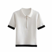 Nach Frauen <span class=keywords><strong>Sommer</strong></span> Kurzarm Polo Shirt Halb Zipper Patchwork Casual Damen Polo Shirt
