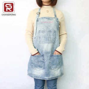 Light blue jean kids cooking apron for sale with embroidered logo