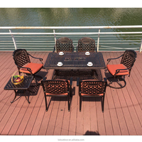 New design table and chair cast aluminum patio outdoor furniture