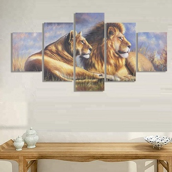 Giclee Canvas Prints 5 Panel Lion Painting Large Canvas Wall Art ...