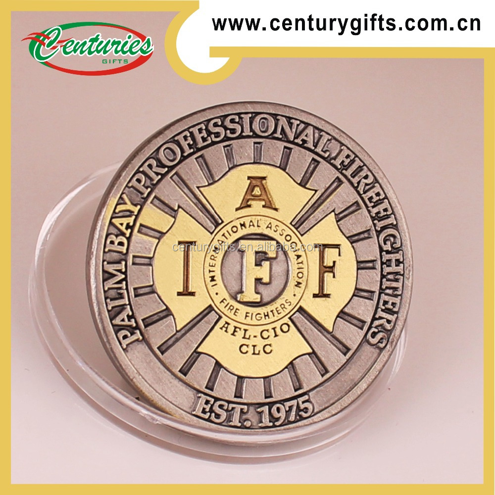 2015 hot selling custom dual plating metal coin, the theme of fire department coin