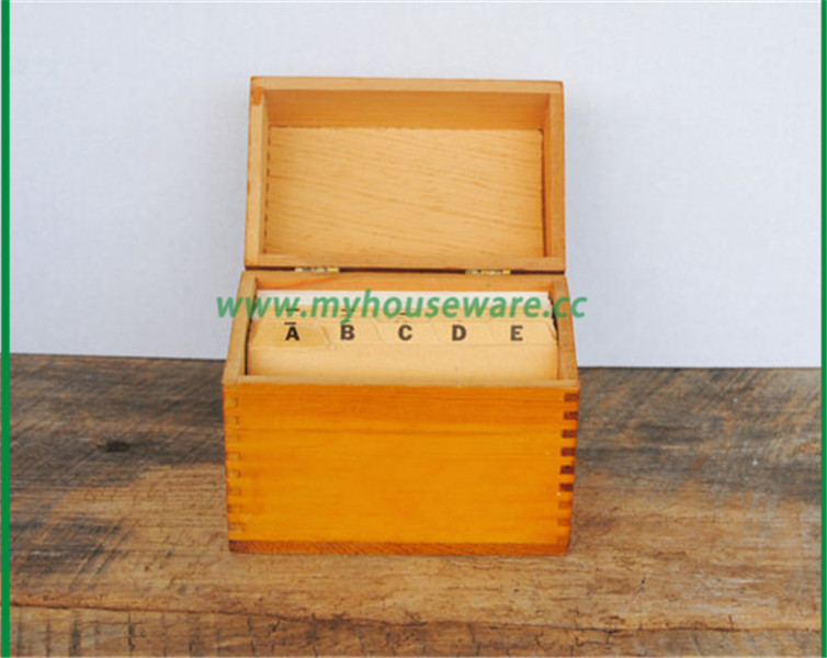 wooden idex file recipe card box with alphabet divider cards