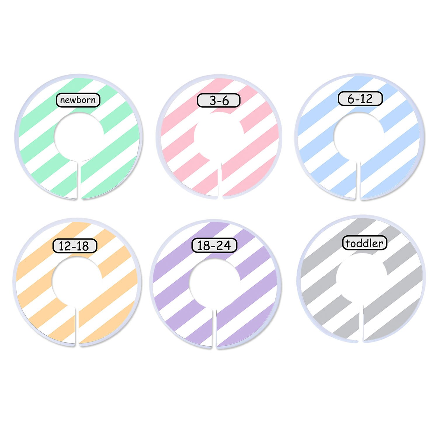 Blulu Clothing Rack Size Dividers Baby Closet Dividers Round Closet Organizer, 6 Pieces, 6 Colors