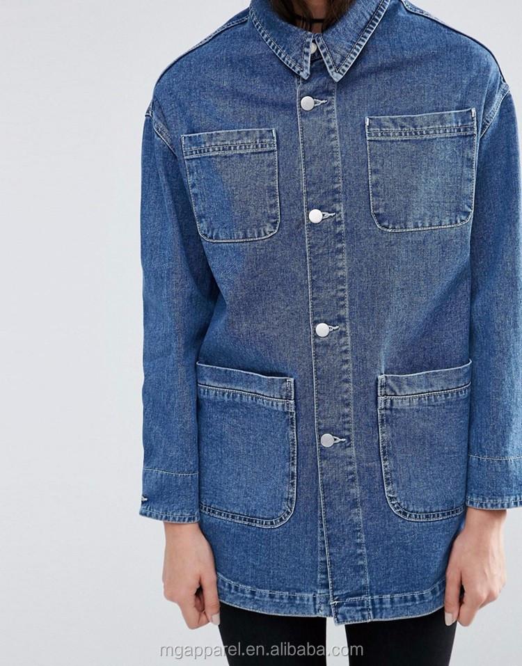 veste de travail en jean a boutons
